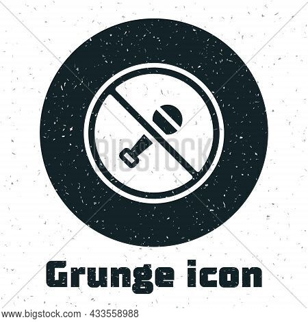 Grunge Mute Microphone Icon Isolated On White Background. Microphone Audio Muted. Monochrome Vintage