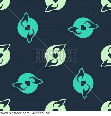 Green And Beige Pleasant Relationship Icon Isolated Seamless Pattern On Blue Background. Romantic Re