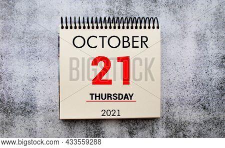 Save The Date Written On A Calendar - October 21