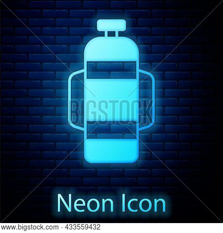 Glowing Neon Aqualung Icon Isolated On Brick Wall Background. Oxygen Tank For Diver. Diving Equipmen