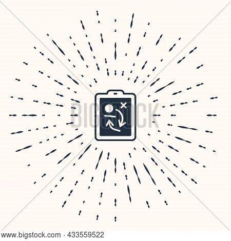 Grey Planning Strategy Concept Icon Isolated On Beige Background. Hockey Cup Formation And Tactic. A