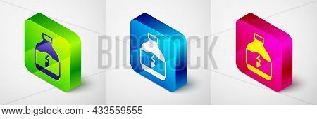 Isometric Sports Nutrition Bodybuilding Proteine Power Drink And Food Icon Isolated On Grey Backgrou