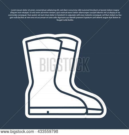 Blue Line Fishing Boots Icon Isolated On Blue Background. Waterproof Rubber Boot. Gumboots For Rainy
