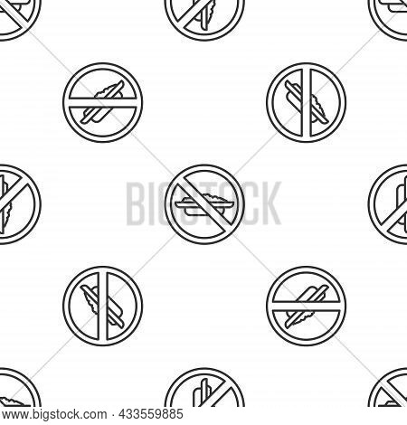 Grey Line Food No Diet Icon Isolated Seamless Pattern On White Background. Healing Hunger. Vector