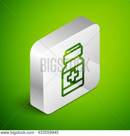 Isometric Line Medicine Bottle And Pills Icon Isolated On Green Background. Medical Drug Package For