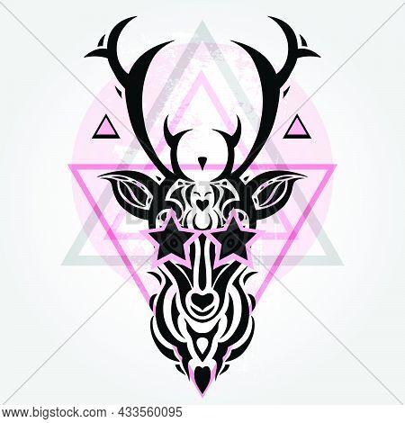 Deer Head Tribal Pattern. Polynesian Tattoo Style. Vector Illustration