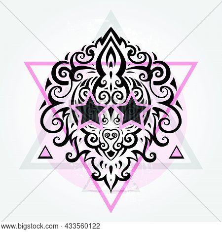 Lions Head Tribal Pattern. Polynesian Tattoo Style. Vector Illustration