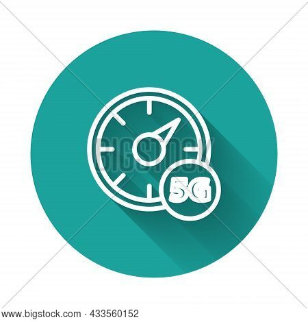 White Line Digital Speed Meter Concept With 5g Icon Isolated With Long Shadow. Global Network High S