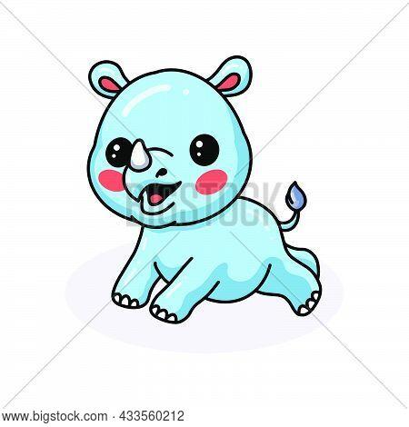Vector Illustration Of Cute Baby Rhino Cartoon Jumping