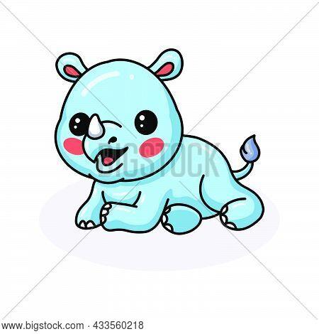 Vector Illustration Of Cute Baby Rhino Cartoon Lying Down