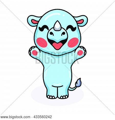Vector Illustration Of Cute Baby Rhino Cartoon Raising Hands