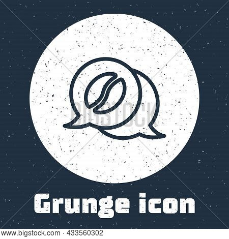 Grunge Line Coffee And Conversation Icon Isolated On Grey Background. Coffee Talk. Speech Bubbles Ch