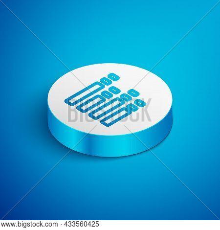 Isometric Line Music Equalizer Icon Isolated On Blue Background. Sound Wave. Audio Digital Equalizer