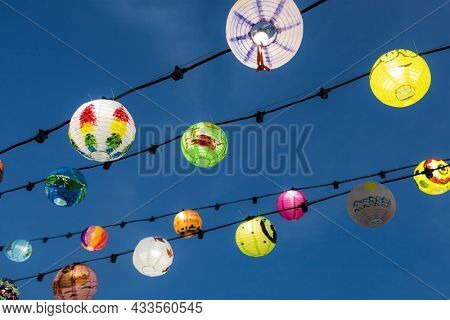 Tai O, Hong Kong 19 September 2021: Mid autumn festival lantern hanging