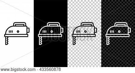 Set Line Electric Jigsaw With Steel Sharp Blade Icon Isolated On Black And White, Transparent Backgr