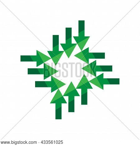 Green Arrows Inward Icon. Cursor Sign. Navigation Pointer. Abstract Geometric Figure. Vector Illustr