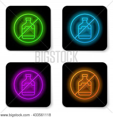 Glowing Neon Line No Alcohol Icon Isolated On White Background. Prohibiting Alcohol Beverages. Forbi