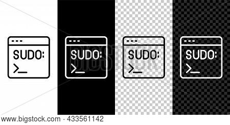 Set Line Code Terminal Icon Isolated On Black And White, Transparent Background. Browser Window With
