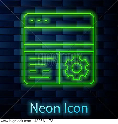 Glowing Neon Line Debugging Icon Isolated On Brick Wall Background. Debugging Tool. Magnifying Glass