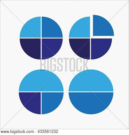 Isolated Blue Parts Of Circle. Segment Infographic. Cycle Diagram. Business Chart. Vector Illustrati