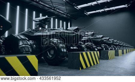 Futuristic Military Tanks In Military Base. 3d Rendering.