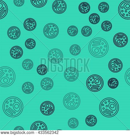 Black Line Ramen Soup Bowl With Noodles Icon Isolated Seamless Pattern On Green Background. Bowl Of
