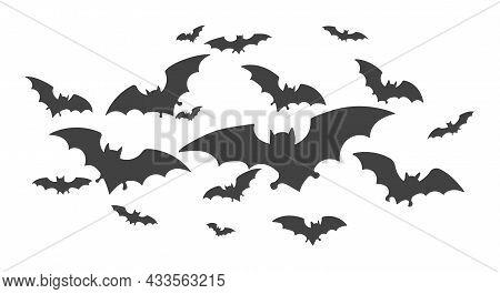 Horrific Bat Flock. Flying Bats Vector Halloween Illustratiuon, Night Shock Vampire Horror Creepy Ho