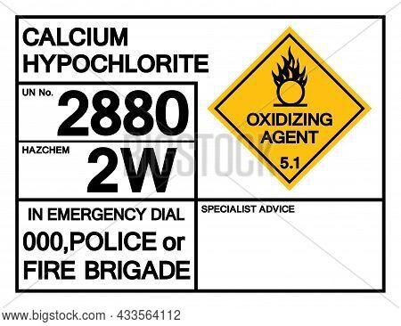 Calcium Hypochlorite Un 2880 Symbol Sign, Vector Illustration, Isolate On White Background, Label .e
