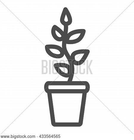 Plant With Leaves, Seedlings In Pot Line Icon, Gardening Concept, Growing Plant Vector Sign On White