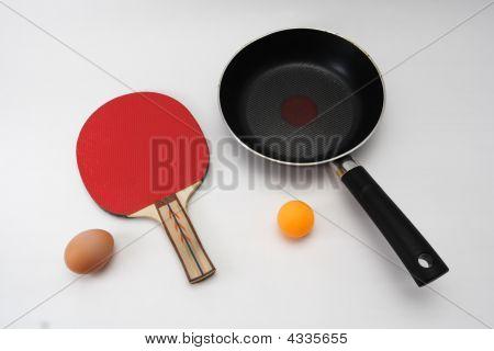 Table Tennis Racket, Ball, Pan And Egg