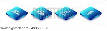 Set Isometric Line Car Windscreen, Engine, Handbrake And Muffler Icon. Vector
