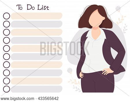 Girl And To-do List. Businesswoman In A Suit On Decorative Background Looks At The To-do List. Vecto