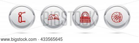 Set Line Truck Side Mirror, Car Windscreen, Tire And Brake Disk With Caliper. Silver Circle Button.