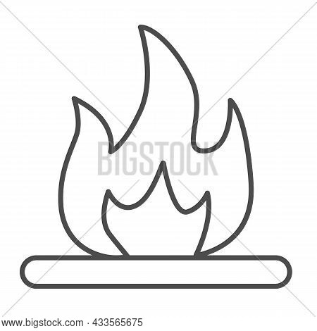Flammable Liquid, Fire Flame, Ignition Thin Line Icon, Oil Industry Concept, Inflammation Vector Sig