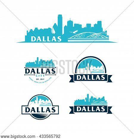 Dallas Skyline Logo. Dallas Skyline And Landmarks Silhouette Vector