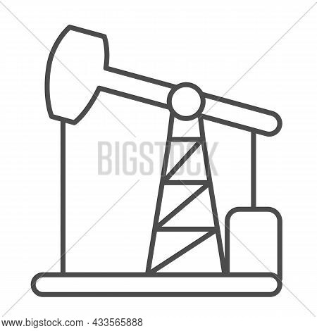 Oil Pump Jack, Oil Extraction Station, Rig Thin Line Icon, Oil Industry Concept, Pumpjack Vector Sig