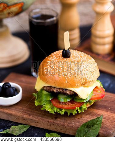 Cheeseburger With Glass Of Cola High Quality Image