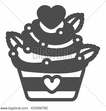 Cupcake With Hearts And Sprinkles For Valentine Day Solid Icon, Pastry Concept, Muffin Vector Sign O