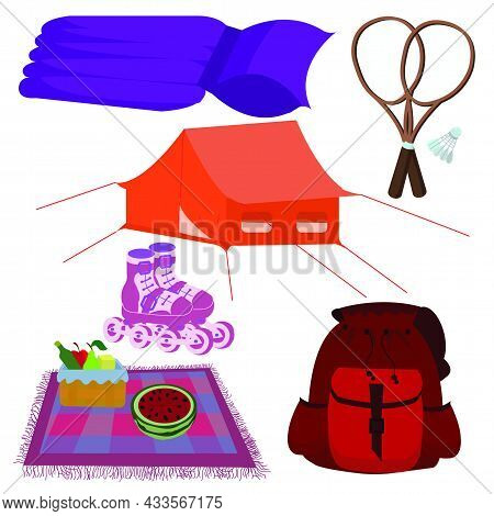 A Set Of Summer Items For Recreation And Sports: An Inflatable Mattress, Rollers, A Tourist Tent, A