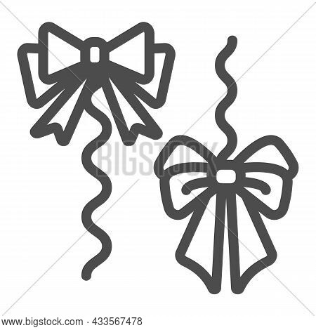 Bows On A Rope, Thread, Cat Toy Line Icon, Pets Concept, String With Bow For Kitten Vector Sign On W