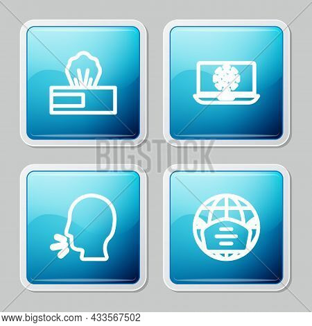 Set Line Wet Wipe Pack, Virus Statistics On Laptop, Man Coughing And Earth With Medical Mask Icon. V
