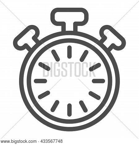 Stopwatch With Buttons And Dial Without Hands, Timer Line Icon, Time Concept, Clock Vector Sign On W