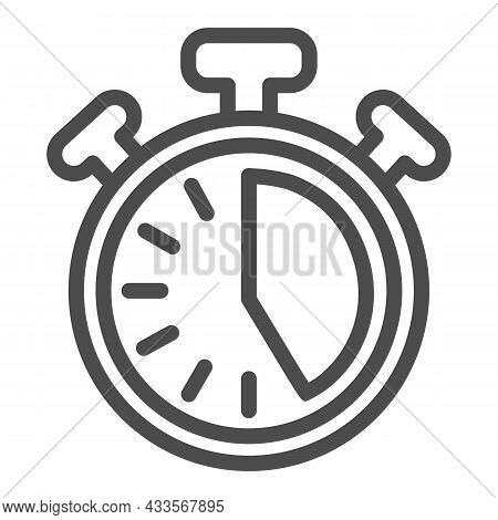 Stopwatch With Buttons, 25 Seconds, Timer, Chronometer Line Icon, Time Concept, Clock Vector Sign On