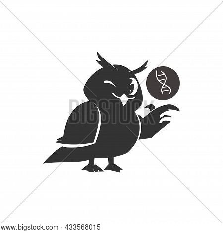 School Owls Template. Color Cute Birds Studying Biology In School. Teaching Education Cartoon Vector