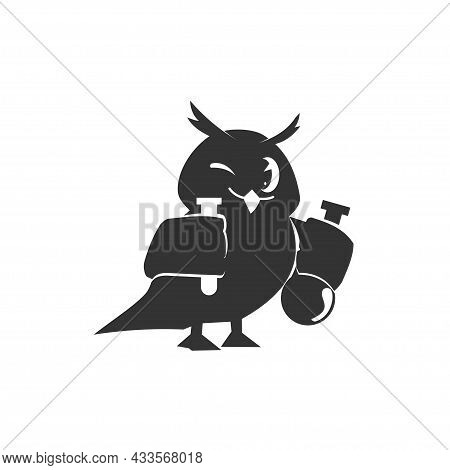 School Owls Template. Color Cute Birds Studying Chemical In School. Teaching Education Cartoon Vecto