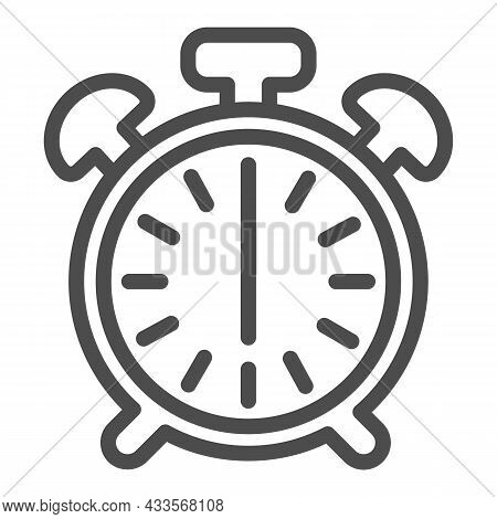 Vintage Alarm Clock With Button, 6 Pm, 6 Am Line Icon, Time Concept, Timepiece Vector Sign On White