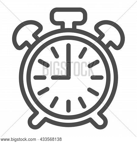Vintage Alarm Clock With Button, 9 Pm, 9 Am Line Icon, Time Concept, Timepiece Vector Sign On White