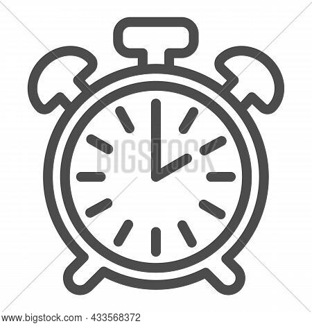 Vintage Alarm Clock With Button, 2 Pm, 2 Am Line Icon, Time Concept, Timepiece Vector Sign On White