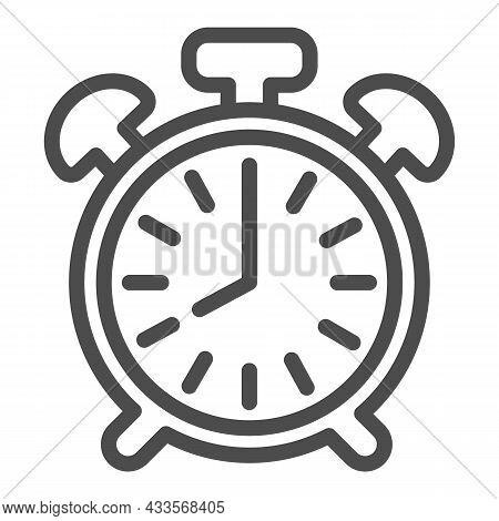 Vintage Alarm Clock With Button, 8 Pm, 8 Am Line Icon, Time Concept, Timepiece Vector Sign On White