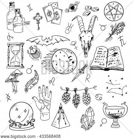 Design Set With Graphic Drawings Of Mystic And Religions And Devil Symbols.